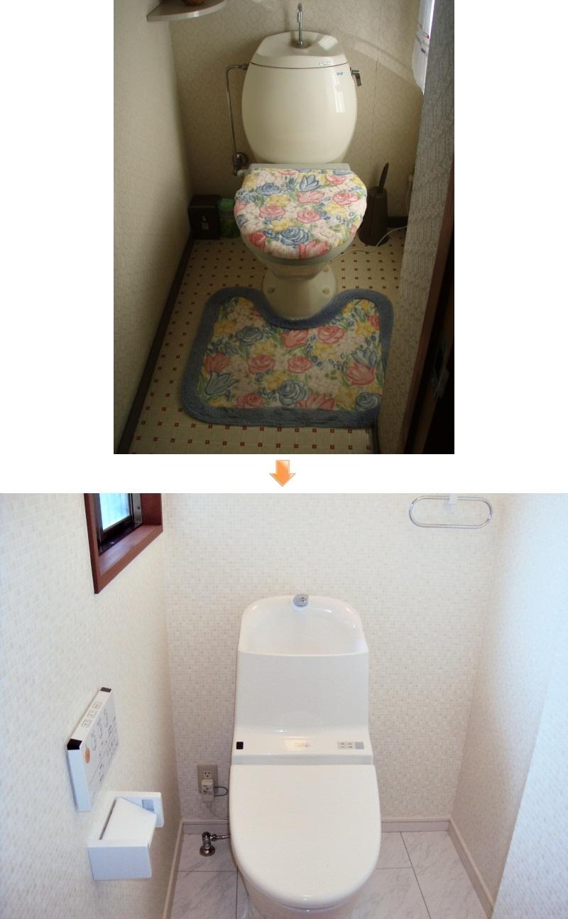 旧式の洋式便座から、ホワイトで統一されたトイレは、とても清潔感のある個室空間となって居ます。