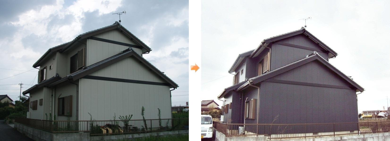 既設のアイボリー色から、濃いグレーへと色を変え、重量感のある落ち着いた建物に塗り替えをしました。