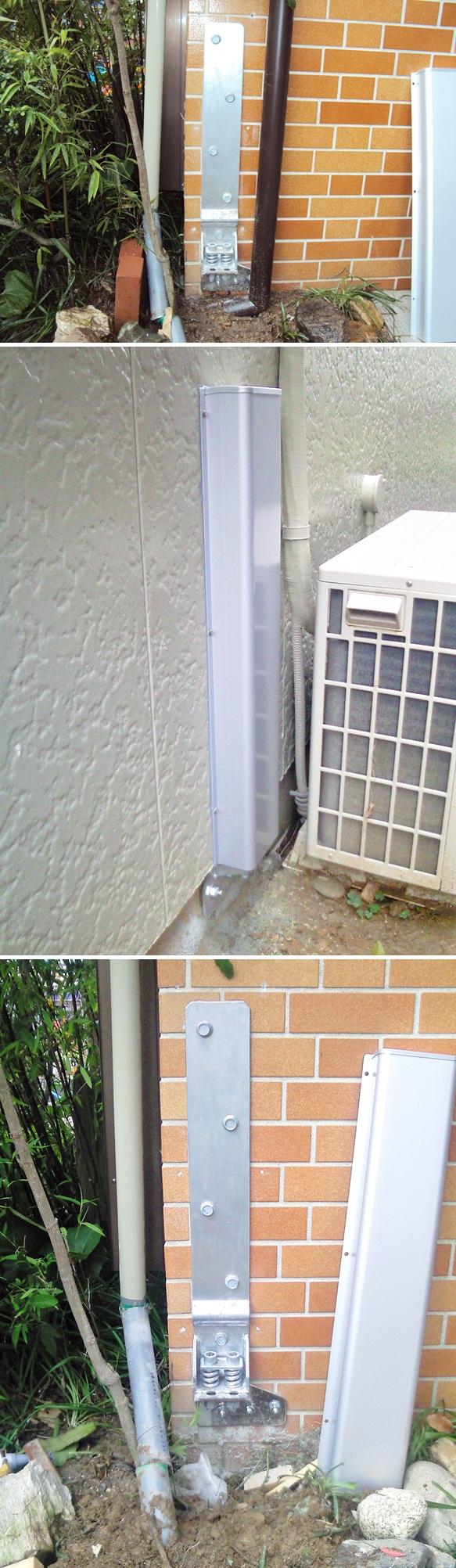 耐震を考慮し、外部に後付けホールダウン金物を取付けました。基礎、土台と通し柱をコーチボルトで固定し、引き抜きに対して強度を確保しています。