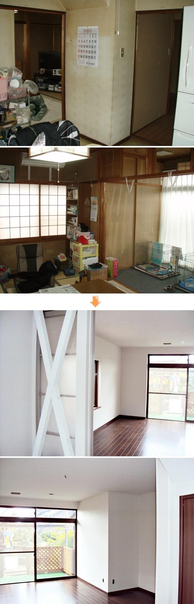 居間と和室、DKを大きなLDKにしました。筋交いを化粧で見せ、インテリアの一部として取り入れています。