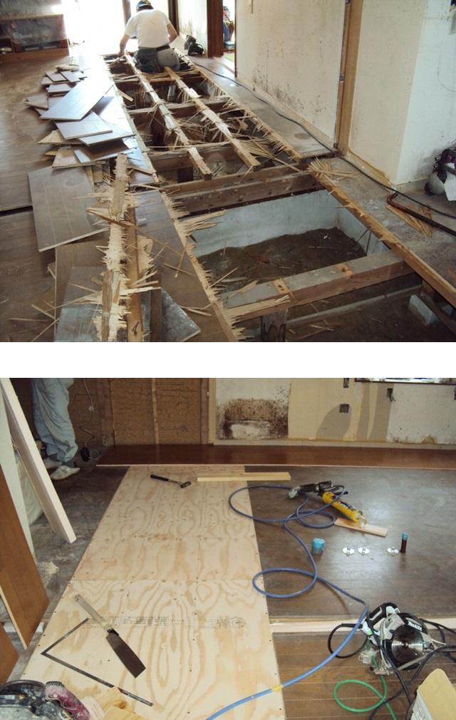 キッチンの床を一度剥がし、断熱材を入れ防蟻処理をし、開口部をベニヤで復旧しました。その後この上にフロアー合板を張り増して、2重張りの丈夫な床にしました。
