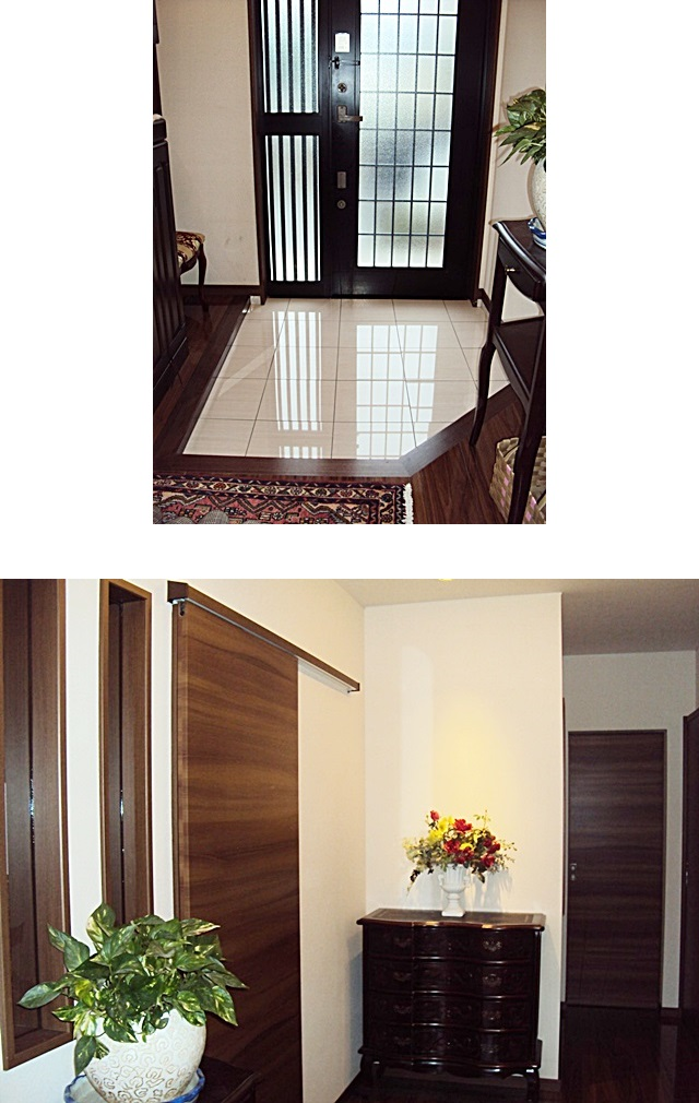 白い大理石調のタイルと床板のコントラストが鮮やかで明るい玄関になりました。玄関ホールは、シックで落ち着いた雰囲気です。
