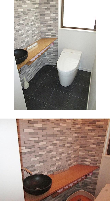 1階のトイレです。壁と床のタイルが落ち着きと重厚感のある空間としています。トイレカウンターと手洗い鉢がオシャレで実用性も兼ね備えています。