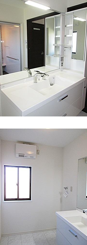 大きな鏡と洗面台が印象的な洗面所となりました。サイドキャビネットもあり収納も充実しています。また洗面所用暖房機が取り付けられ、冬場のヒートショックを防いでくれるので安心です。