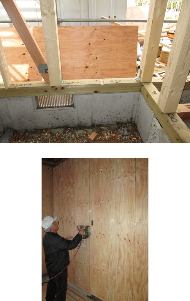 増改築部分は、耐震性を上げる為、柱と土台の接合部を金物で補強しました。また、既設の壁に構造用合板を張り耐力壁としました。面材で土台・柱・梁を一体とし地震力に対抗します。
