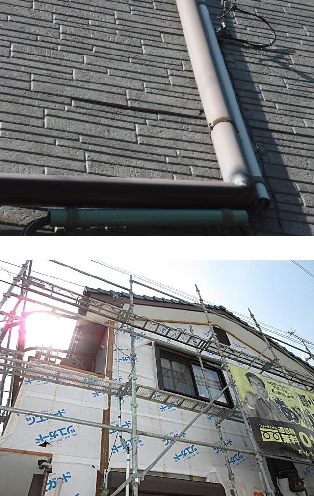 外壁東面のサイディングがとても劣化していたので、張り替えを行いました。まず既存のサイディングを剥がし、胴縁下地を撤去しました。