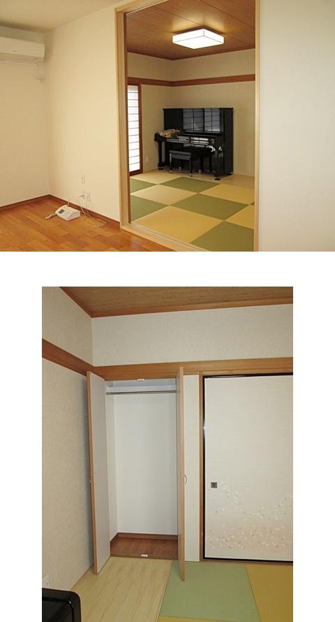 1階和室は、壁のクロスと畳を取替、モダンな部屋に変わりました。奥に板の間を設けピアノ置き場にしています。また、1階の和室にクロークを設けました。