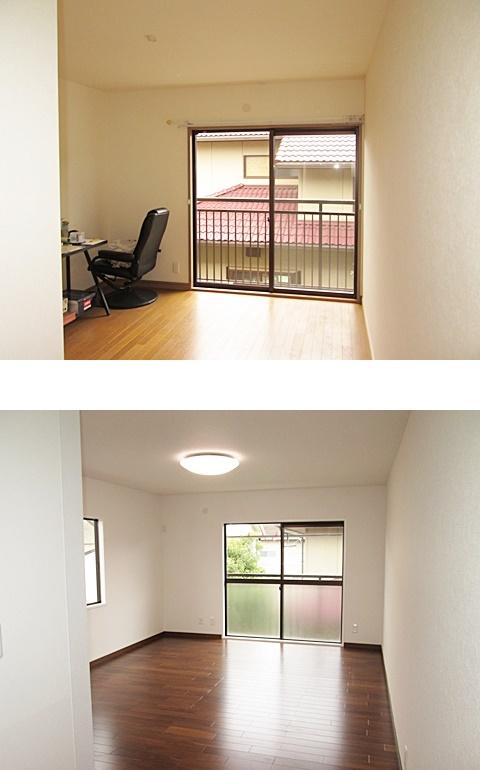 2階中央の洋室は、壁と天井のビニールクロスを貼り替え、明るく綺麗になりました。もう一つの居住スペースは、和室と納戸が一つの洋室に変更しました。落ち着いた雰囲気のお部屋に仕上がっています。