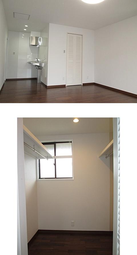 部屋の一画には、ミニキッチンとウォークインクローゼットを設けています。クローゼットの両サイドに棚板とハンガーパイプを取付、収納がタップリと行えます。