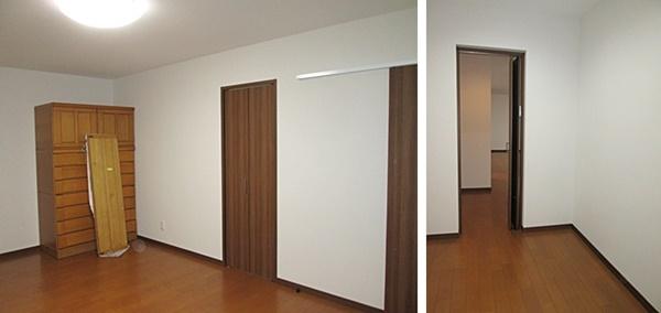 こちらは寝室です。中央の扉は納戸へつながります。納戸は、扉を2か所設けLDKからも利用できます。