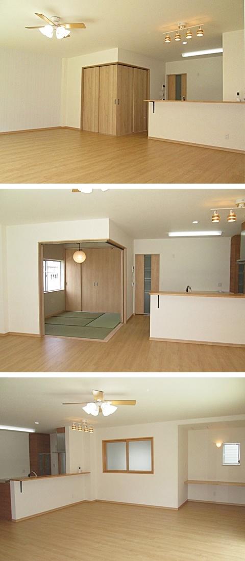 2階の子世帯のリビングです。LDKの一画に和室を設けました。L型の引き戸を開ければ、4.5帖の和室が現れます。またリビング東面(写真右)にパソコンスペースの机を造り付けました。