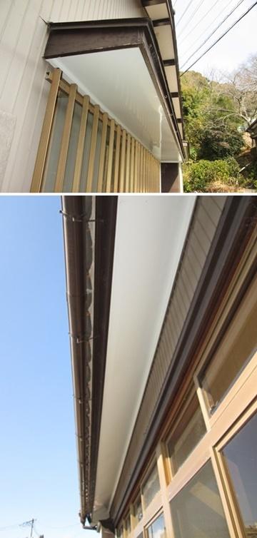 軒天のベニヤ板がぼろぼろになっていたので、ガルバリウム鋼板で仕上げました。長期間美観を保ちます。