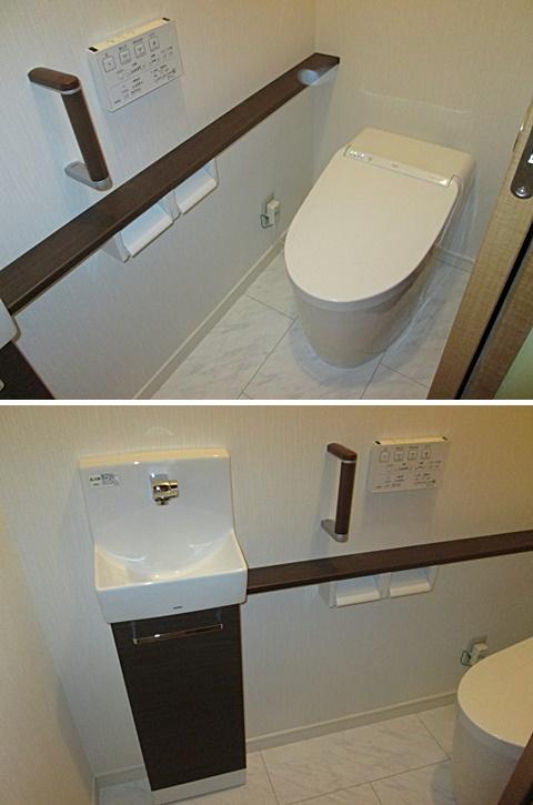 トイレはタンクレスでスッキリとした空間になりました。カウンター式手摺を取付安全面も考慮しています。 またトイレ内に手洗を取り付け、使い勝手を良くしました。