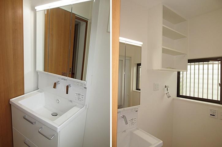 洗面化粧台は、使い勝手が良く、収納も充実したタイプを選定されました。洗濯機の上には収納棚を設けています。