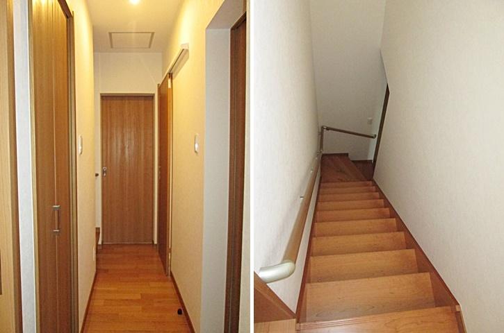 1階廊下の照明はセンサー付きにしています。階段には、手摺を取付安全に考慮しています。